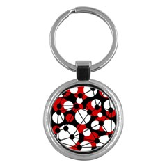 Red, Black And White Pattern Key Chains (round)  by Valentinaart