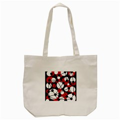 Red, Black And White Pattern Tote Bag (cream) by Valentinaart