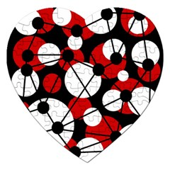 Red, Black And White Pattern Jigsaw Puzzle (heart) by Valentinaart