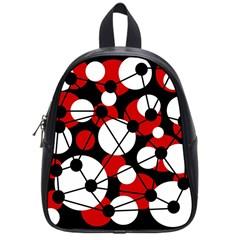 Red, Black And White Pattern School Bags (small)