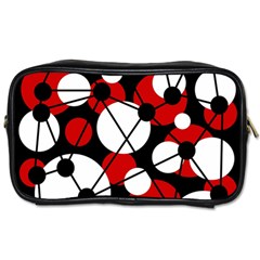 Red, Black And White Pattern Toiletries Bags