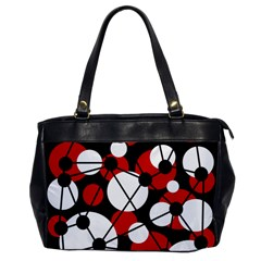Red, Black And White Pattern Office Handbags by Valentinaart