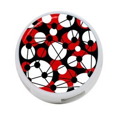 Red, Black And White Pattern 4 Port Usb Hub (one Side) by Valentinaart