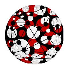 Red, Black And White Pattern Round Filigree Ornament (2side) by Valentinaart