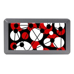 Red, Black And White Pattern Memory Card Reader (mini) by Valentinaart