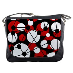 Red, Black And White Pattern Messenger Bags by Valentinaart