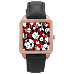 Red, Black And White Pattern Rose Gold Leather Watch  by Valentinaart