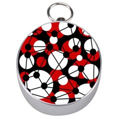 Red, Black And White Pattern Silver Compasses by Valentinaart