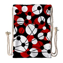 Red, Black And White Pattern Drawstring Bag (large) by Valentinaart