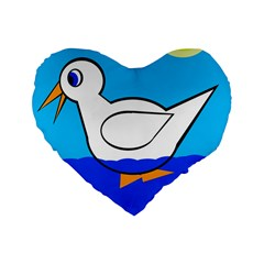 White Duck Standard 16  Premium Flano Heart Shape Cushions by Valentinaart
