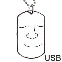 Sleeping Face Dog Tag Usb Flash (one Side) by Valentinaart
