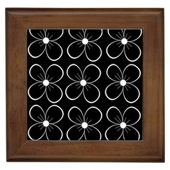 Black And White Floral Pattern Framed Tiles by Valentinaart
