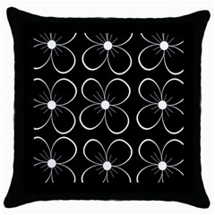 Black And White Floral Pattern Throw Pillow Case (black) by Valentinaart