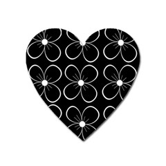 Black And White Floral Pattern Heart Magnet by Valentinaart
