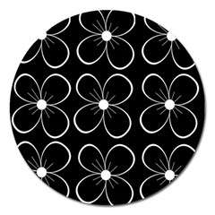 Black And White Floral Pattern Magnet 5  (round) by Valentinaart