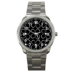 Black And White Floral Pattern Sport Metal Watch by Valentinaart