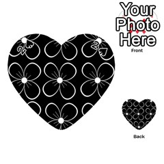 Black And White Floral Pattern Playing Cards 54 (heart)  by Valentinaart