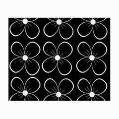 Black And White Floral Pattern Small Glasses Cloth (2 Side) by Valentinaart