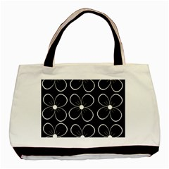 Black And White Floral Pattern Basic Tote Bag (two Sides) by Valentinaart