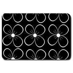 Black And White Floral Pattern Large Doormat