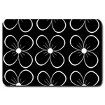 Black and white floral pattern Large Doormat  30 x20 Door Mat - 1