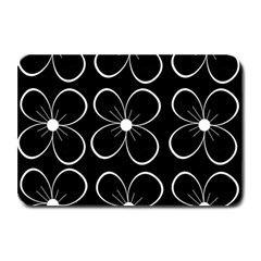 Black And White Floral Pattern Plate Mats by Valentinaart
