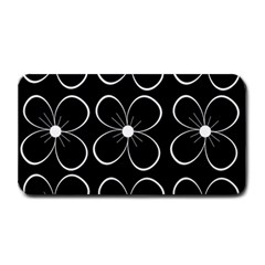 Black And White Floral Pattern Medium Bar Mats by Valentinaart