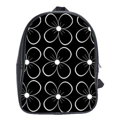 Black And White Floral Pattern School Bags(large)  by Valentinaart