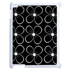 Black And White Floral Pattern Apple Ipad 2 Case (white) by Valentinaart