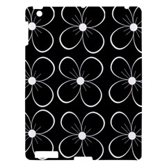 Black And White Floral Pattern Apple Ipad 3/4 Hardshell Case by Valentinaart