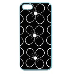Black And White Floral Pattern Apple Seamless Iphone 5 Case (color) by Valentinaart