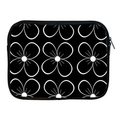 Black And White Floral Pattern Apple Ipad 2/3/4 Zipper Cases by Valentinaart
