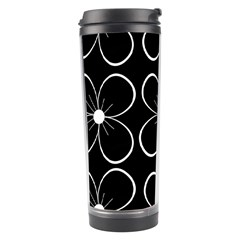 Black And White Floral Pattern Travel Tumbler by Valentinaart