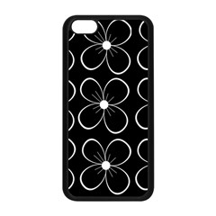 Black And White Floral Pattern Apple Iphone 5c Seamless Case (black) by Valentinaart