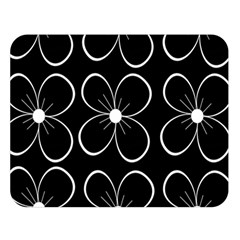 Black And White Floral Pattern Double Sided Flano Blanket (large)  by Valentinaart