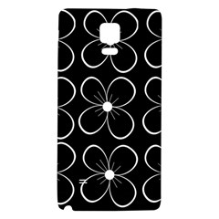 Black And White Floral Pattern Galaxy Note 4 Back Case by Valentinaart