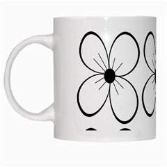 White Flowers Pattern White Mugs by Valentinaart