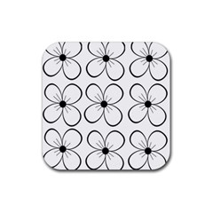 White Flowers Pattern Rubber Coaster (square)