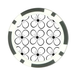 White Flowers Pattern Poker Chip Card Guards (10 Pack)  by Valentinaart