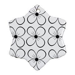 White Flowers Pattern Snowflake Ornament (2 Side)