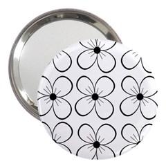 White Flowers Pattern 3  Handbag Mirrors by Valentinaart