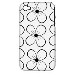 White Flowers Pattern Apple Iphone 4/4s Hardshell Case (pc+silicone) by Valentinaart