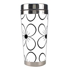 White Flowers Pattern Stainless Steel Travel Tumblers by Valentinaart