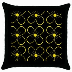 Yellow Flowers Throw Pillow Case (black) by Valentinaart