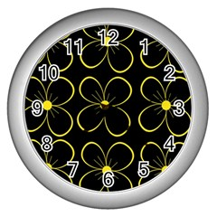 Yellow Flowers Wall Clocks (silver)  by Valentinaart