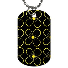 Yellow Flowers Dog Tag (two Sides) by Valentinaart
