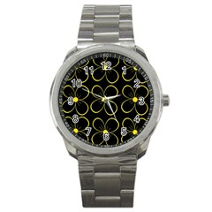 Yellow Flowers Sport Metal Watch by Valentinaart
