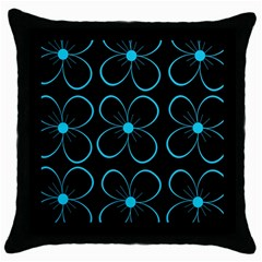 Blue Flowers Throw Pillow Case (black) by Valentinaart