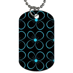 Blue Flowers Dog Tag (two Sides)