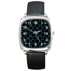 Blue Flowers Square Metal Watch by Valentinaart